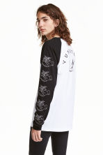 Printed baseball shirt - Black - Men | H&M CN 1