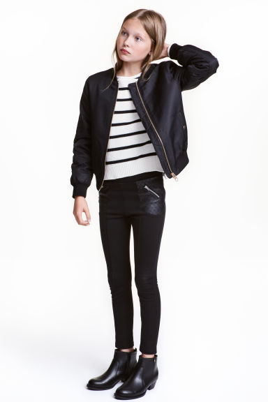Leggings - Black/Imitation leather - Kids | H&M CN 1