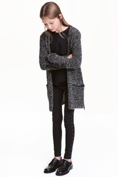 Knitted cardigan - Black marl - Kids | H&M CN