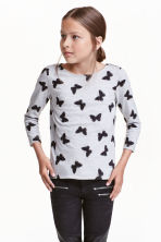 Printed jersey top - Grey/Butterflies - Kids | H&M CN 1