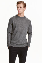 Merino wool jumper - Dark grey marl - Men | H&M CN 1
