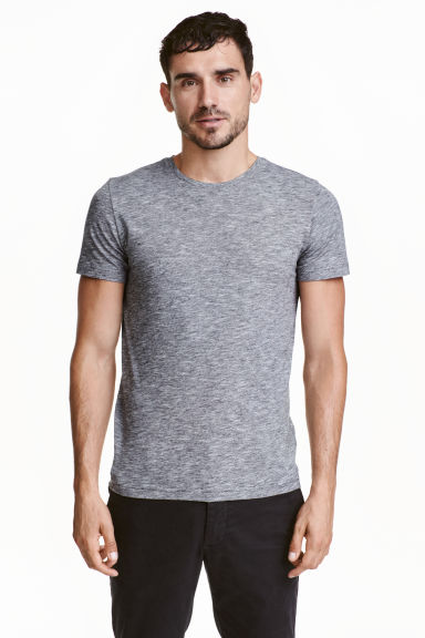 Round-neck T-shirt Slim fit - Grey/Fine stripe - Men | H&M CN 1