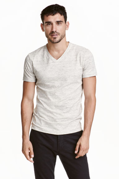 V-neck T-shirt Slim fit - Light beige marl - Men | H&M CN 1