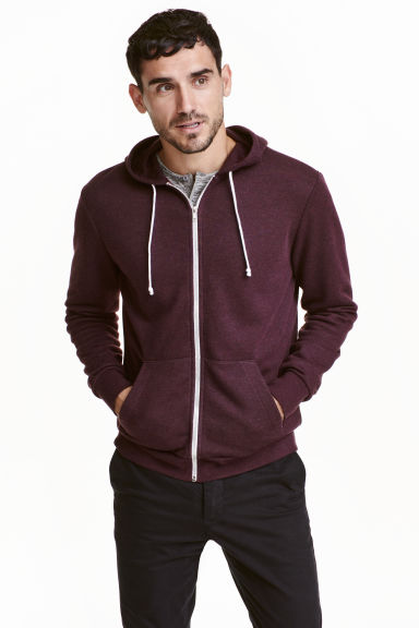 Hooded jacket - Burgundy marl - Men | H&M CN