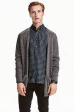 Fine-knit cardigan - Dark grey marl - Men | H&M CN 1