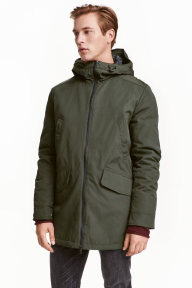 Padded parka - Dark khaki green - Men | H&M CN 1