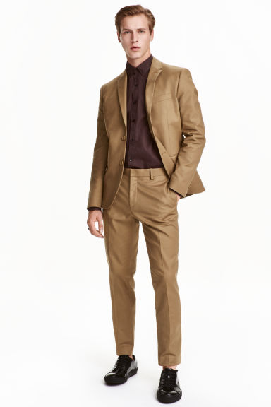 Cotton suit trousers - Dark beige - Men | H&M CN 1