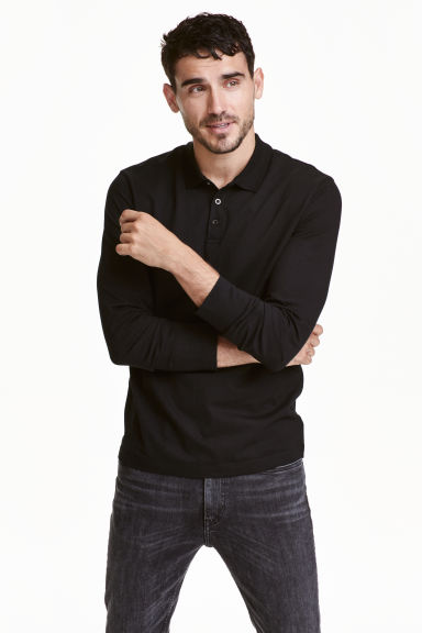 Long-sleeved polo shirt - Black - Men | H&M CN 1