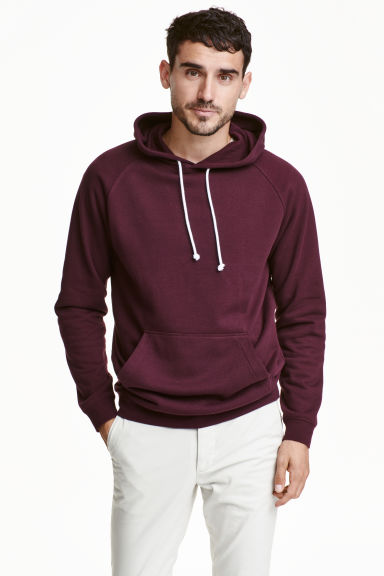 Hooded top - Burgundy -  | H&M