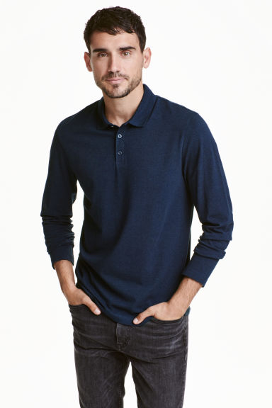 Long-sleeved polo shirt - Dark blue marl - Men | H&M CN 1