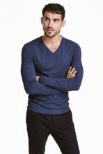 Long-sleeved T-shirt Slim fit - Blue marl - Men | H&M CN 1