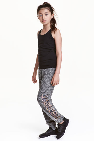 Printed sports trousers - Dark grey marl - Kids | H&M CN 1