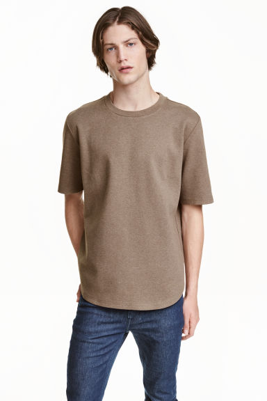 Short-sleeved sweatshirt - Dark beige marl - Men | H&M CN 1