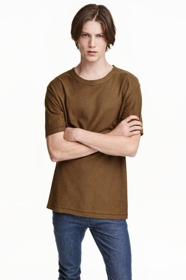 Nepped T-shirt - Khaki brown - Men | H&M CN 1
