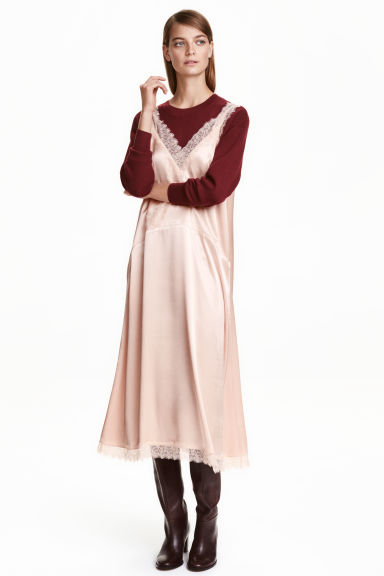 Satin dress with lace - Powder pink - Ladies | H&M CN 1