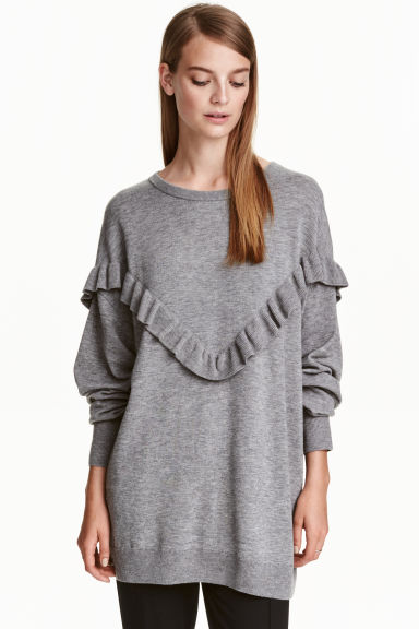 Oversized frilled jumper - Grey marl - Ladies | H&M CN 1