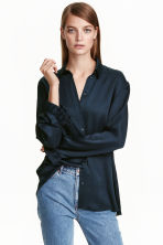Frilled blouse - Dark blue - Ladies | H&M CN 1