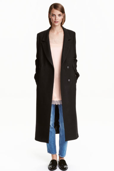 Long wool-blend coat Model