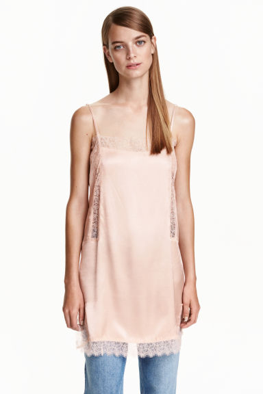 Satin strappy top with lace - Powder pink - Ladies | H&M CN 1