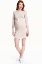 MAMA Jersey dress - Light beige/Striped - Ladies | H&M CN 1