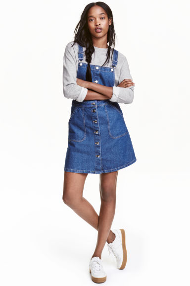 Denim dungaree dress - Denim blue - Ladies | H&M CN 1