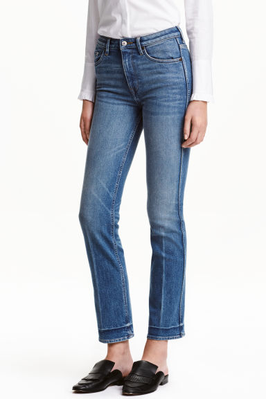 Straight Cropped High Jeans - Azul denim - MUJER | H&M ES
