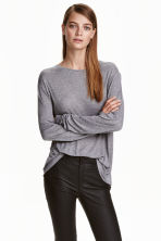 Top in silk-blend jersey - Grey marl - Ladies | H&M CN 1