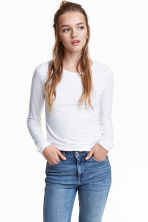 Long-sleeved jersey top - White - Ladies | H&M GB 3