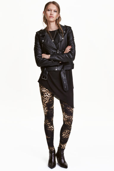 Patterned leggings - Black/Leopard print - Ladies | H&M CN 1