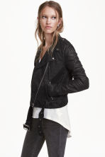 Biker jacket - Black/Textured - Ladies | H&M GB 3