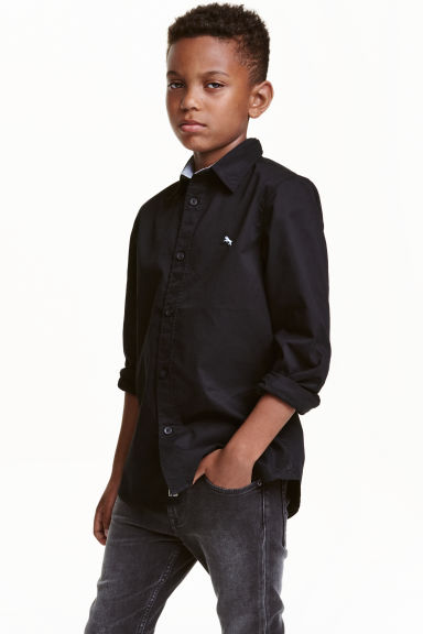 Cotton shirt - Black - Kids | H&M CN 1