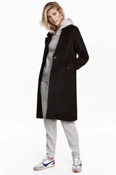 Wool-blend coat - Black - Ladies | H&M GB 1