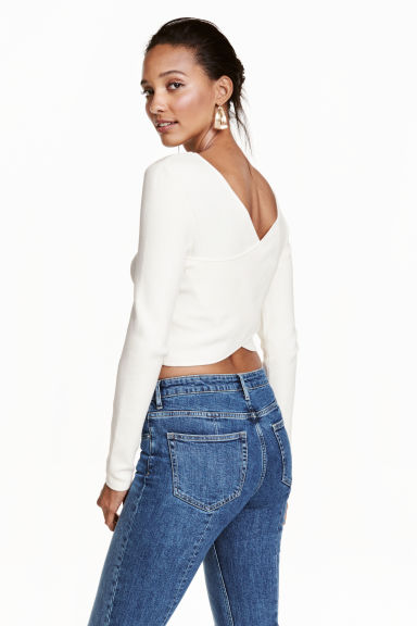 Short wrapover top - White -  | H&M CN 1