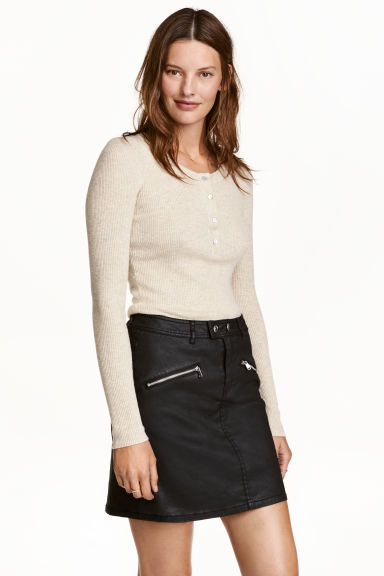 Coated biker skirt - Black - Ladies | H&M CN