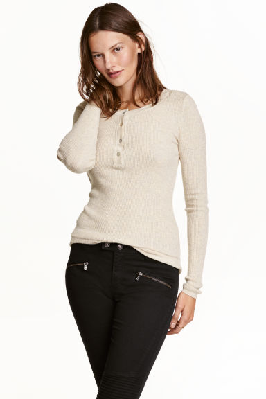 Ribbed wool-blend Henley shirt - Light beige marl - Ladies | H&M CN 1