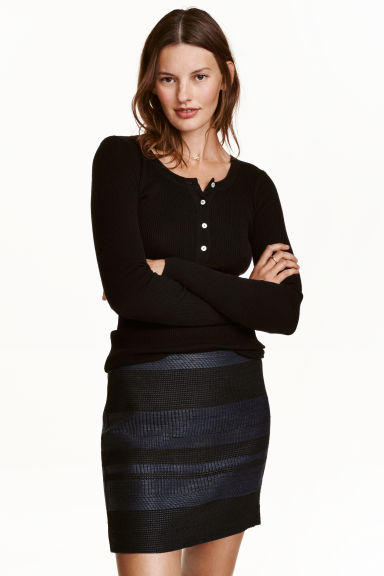 Jacquard-weave skirt - Dark blue/Patterned - Ladies | H&M CN 1