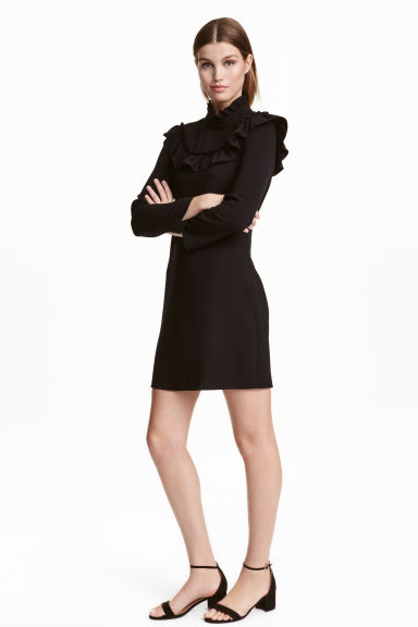 Frilled dress - Black - Ladies | H&M CN 1