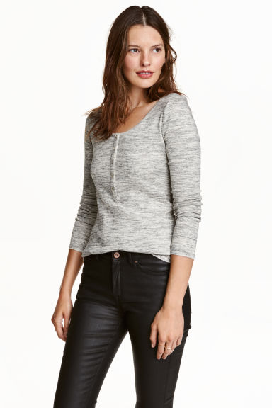 Jersey top with buttons - Grey marl - Ladies | H&M CN 1