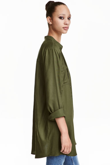 Long shirt - Khaki green - Ladies | H&M CN 1