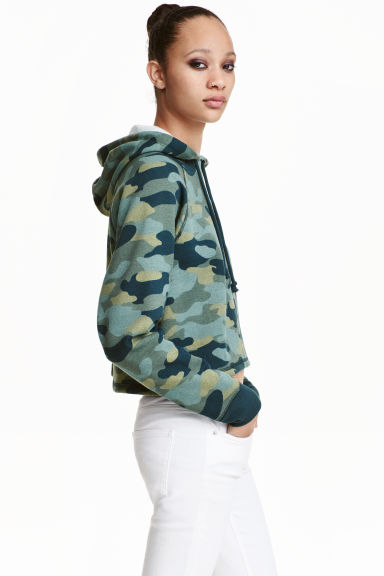 Short hooded top - Khaki green - Ladies | H&M GB 1