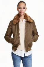 Bomber jacket with collar - Khaki green -  | H&M CN 1