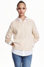 Knitted jumper - Light beige - Ladies | H&M GB 1