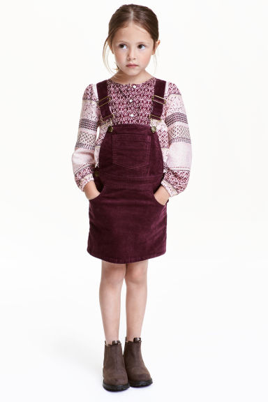 Corduroy dungaree dress - Burgundy - Kids | H&M CN 1