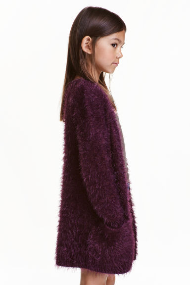 Fluffy cardigan - Plum - Kids | H&M CN 1