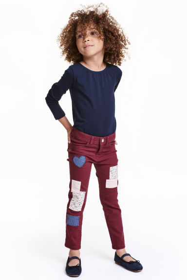 Twill patch-detail trousers - Burgundy - Kids | H&M CN 1