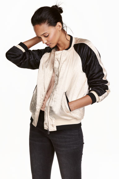 Satin bomber jacket - Light beige - Ladies | H&M CN 1