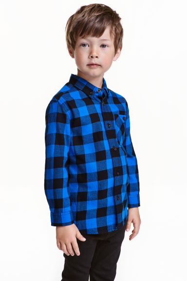 Flannel shirt - Cornflower blue/Checked - Kids | H&M CN 1