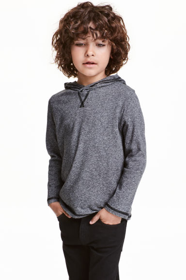 Long-sleeved hooded top - Dark grey marl - Kids | H&M CN 1