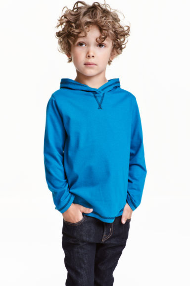 Long-sleeved hooded top - Dark turquoise - Kids | H&M CN 1