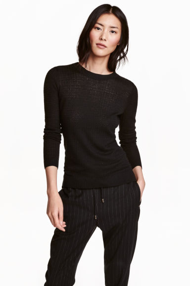 Pattern-knit jumper - Black - Ladies | H&M CN 1